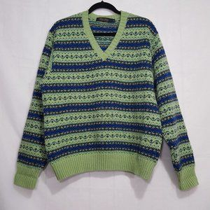 Brooks Brothers wool lime green v-neck sweater L